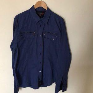 G by Guess dark blue button up shirt